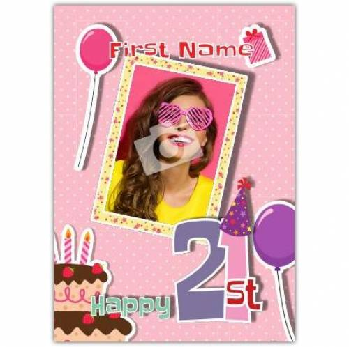Cake And Balloons 21st Happy Birthday Card