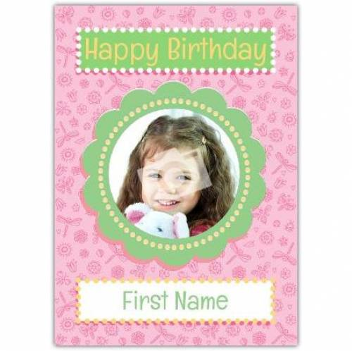 Photo Pink Happy Birthday Card