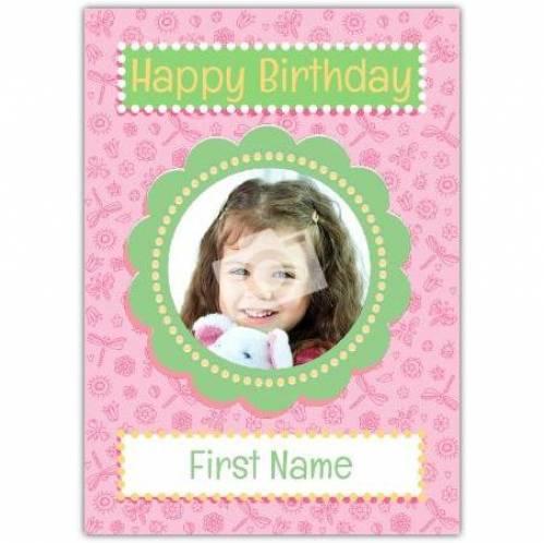 Photo Pink Happy Birthday Card