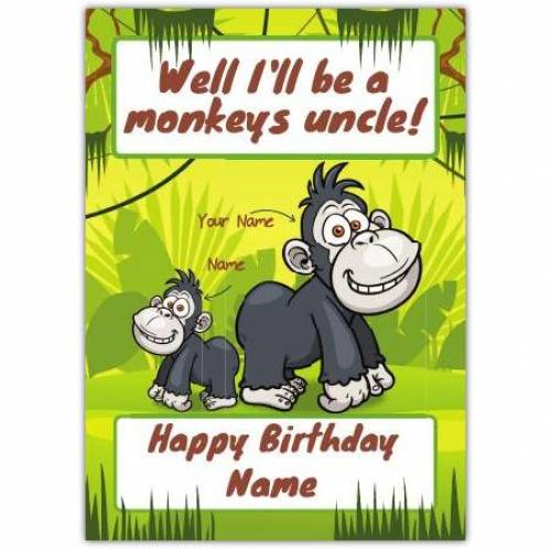 Monkey's Uncle Happy Birthday Card