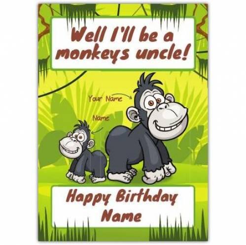 Monkey's Uncle Happy Birthday Card