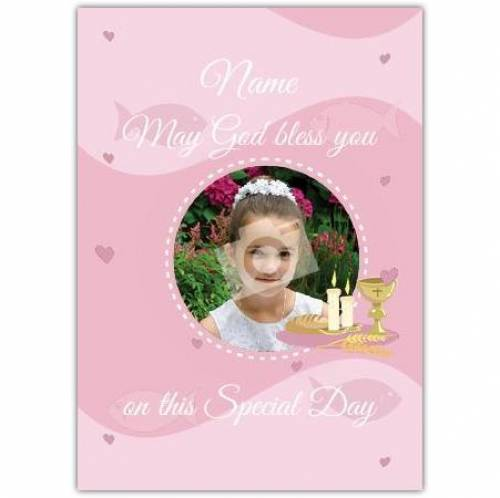 First Communion Pink Card
