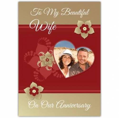 On Our Anniversary Hearts And Flowers Card
