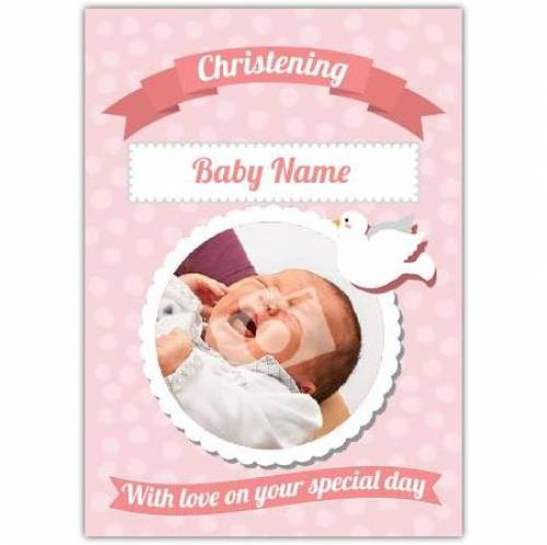 Christening With Love Pink Card