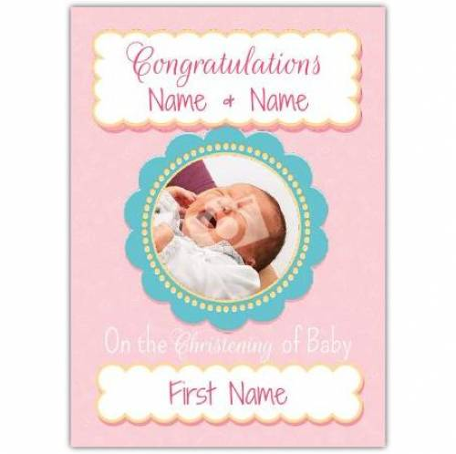 Congratulations Christening Pink Photo Card