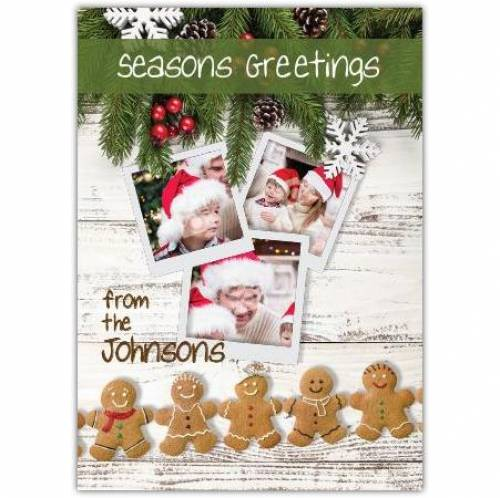 Seasons Greetings Gingerbread And Pine Card