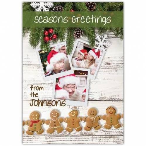 Seasons Greetings Gingerbread And Pine Card