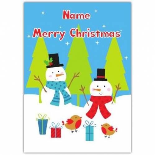 Merry Christmas Snowman Scene Card