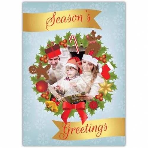 Season's Greetings Photo Wreath Card