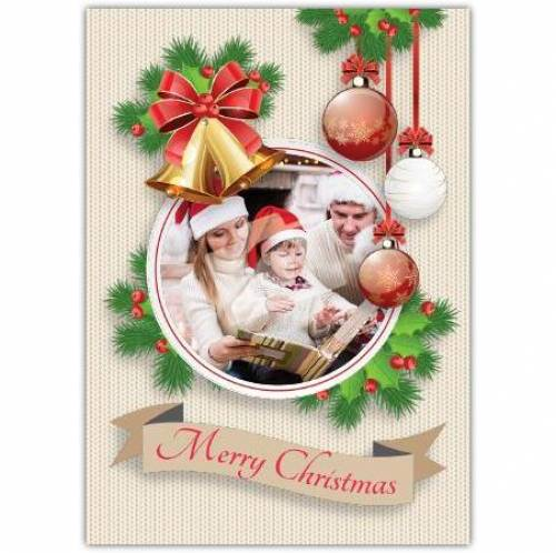 Merry Christmas Photo Bauble Card