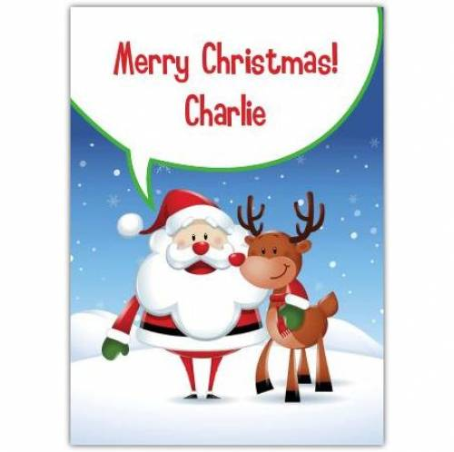 Merry Christmas Santa And Reindear Card