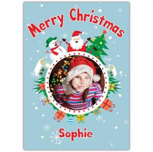 Snow Man Santa Tree Photo Merry Christmas Card