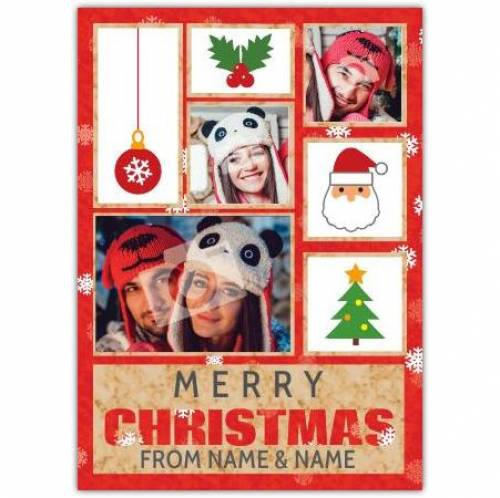 Christmas Tree Santa Holly Merry Christmas Card