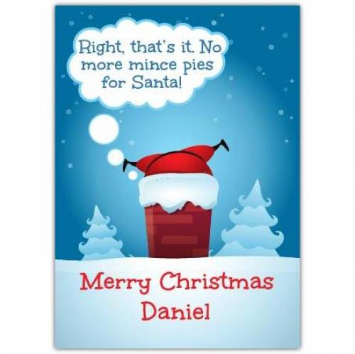 Santa Claus Chimney Merry Christmas Card