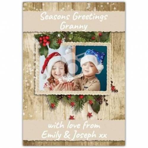 Holly Season's Greetings Christmas Card