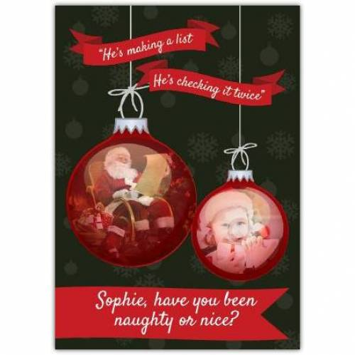 Naughty Or Nice Bauble Christmas Card
