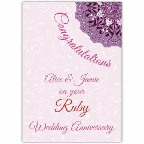 Ruby Wedding Anniversary Card