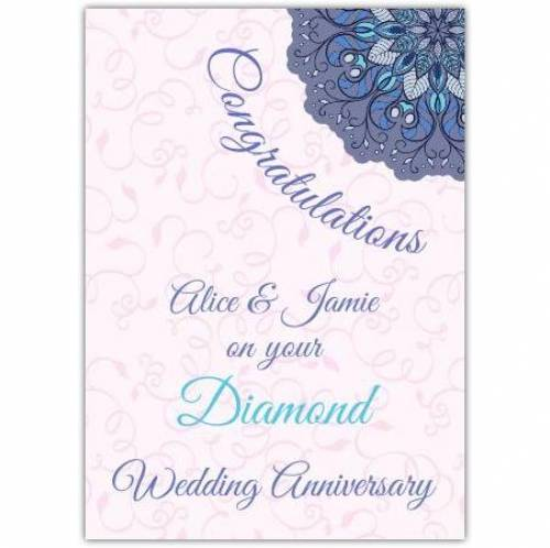 Diamond Wedding Anniversary Card