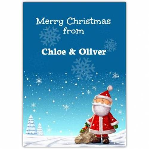 Merry Christmas Santa Snow Flake Card