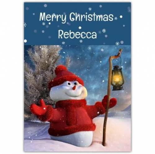 Merry Christmas Snowman And Lantern Card