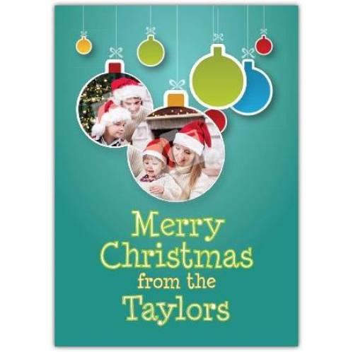 Merry Christmas Bauble Photo  Card