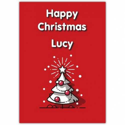 Happy Christmas White Tree Card