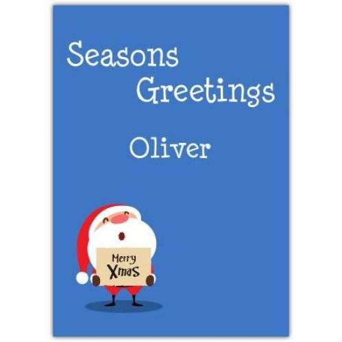 Seasons Greetings Merry Xmas Card