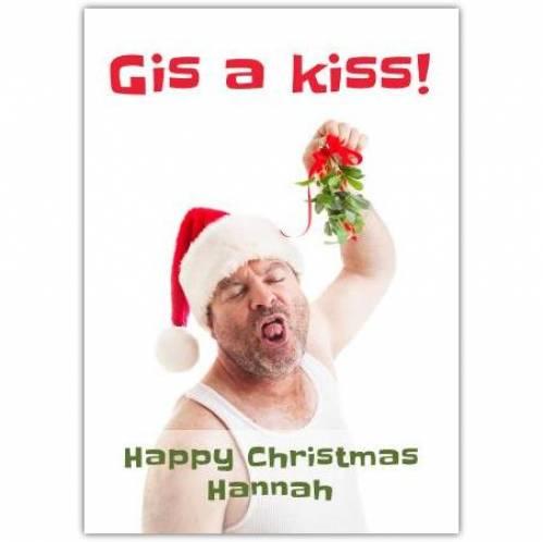 Gis A Kiss Mistletoe Card