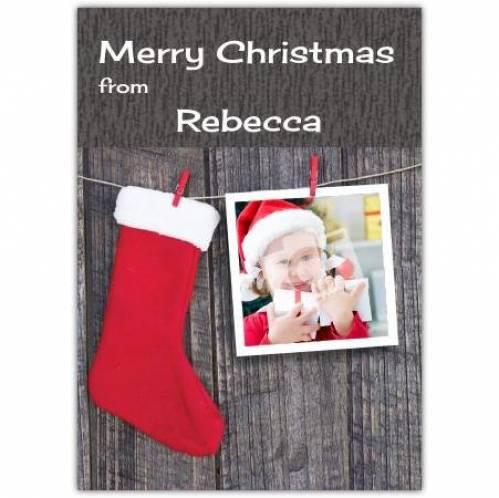 Merry Christmas Stocking Cloths Peg Card