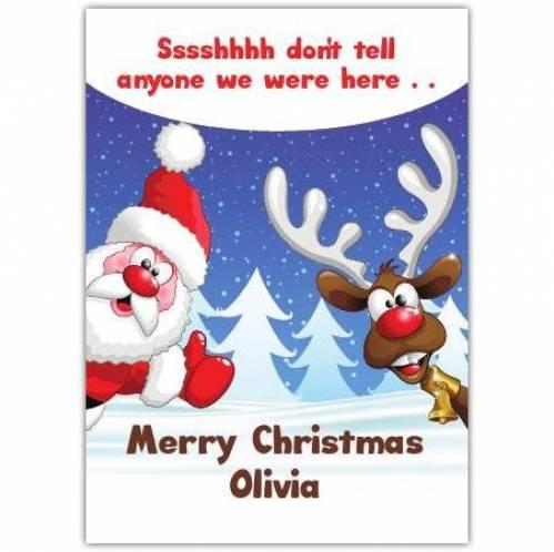 Santa And Rudolph Christmas Card
