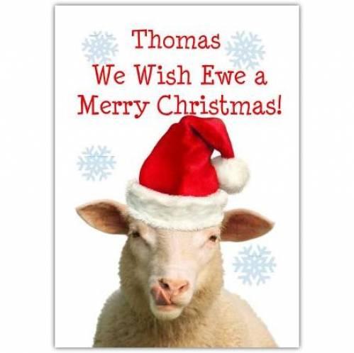 Sheep Santa Hat Christmas Card