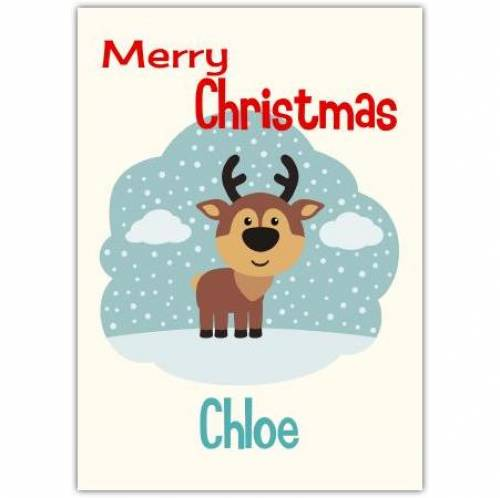 Reindeer In The Snow Christmas Card