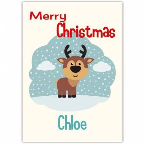 Reindeer In The Snow Christmas Card