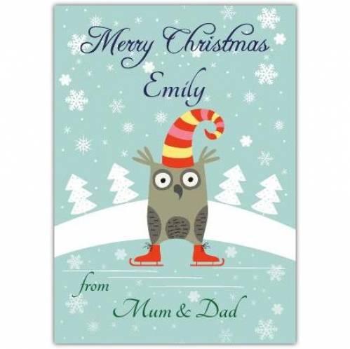 Skating Owl Christmas Card