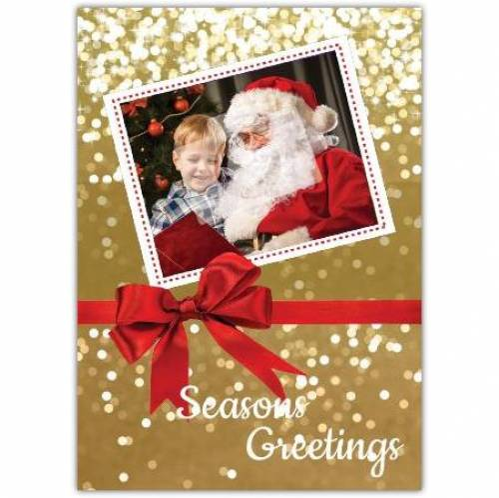 Red Bow Season's Greetings Christmas Card