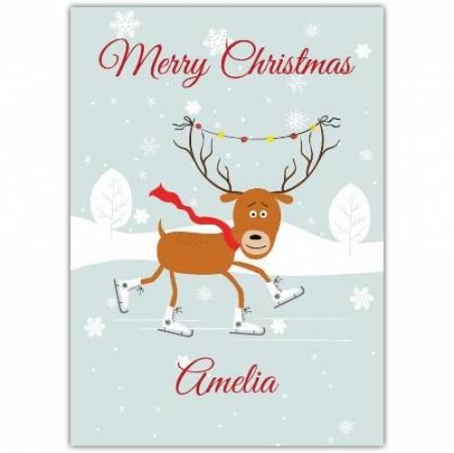 Skating Reindeer Christmas Card