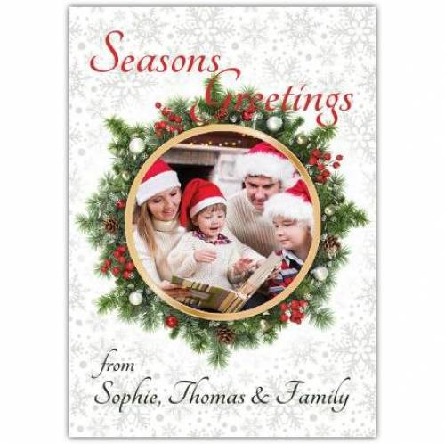 Seasons Greeting Wreath Bauble Card