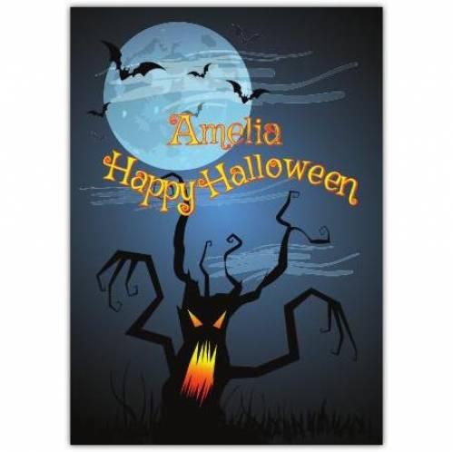 Happy Halloween Scary Tree Card