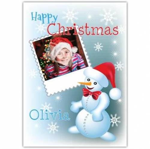 Happy Christmas Snowman Photo Card