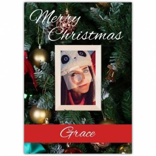 Merry Christmas Christmas Tree Baubles Card