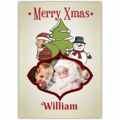 Merry Xmas Christmas Tree Santa And Snowman Card