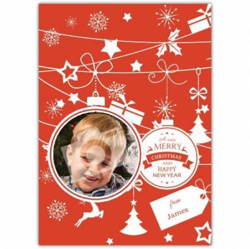 Merry Christmas Ornaments Decorations Photo Card