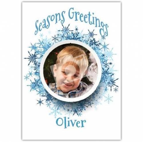 Seasons Geetings Photo Snowflake Card