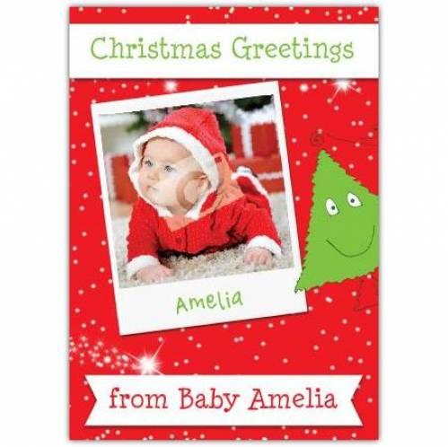 Christmas Greetings Photo Snow Green Christmas Tree Red Card
