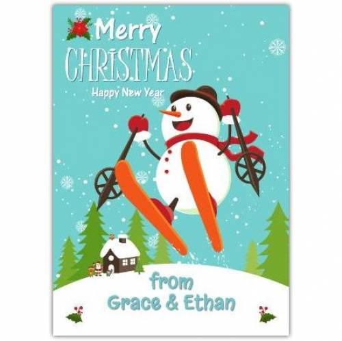 Merry Christmas Snowman Jumping Funny Card