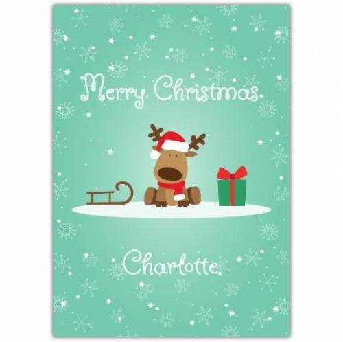 Merry Christmas Reindeer And Sleigh Card