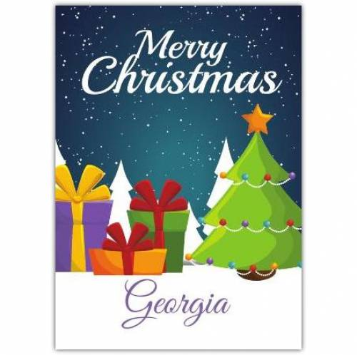 Merry Christmas Tree And Gifts Card