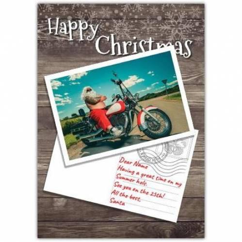 Happy Christmas Santa On Motorbike Card