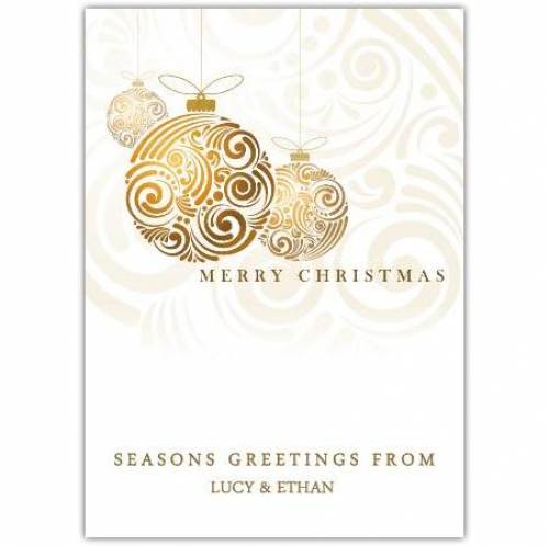 Merry Christmas Gold Bauble Card