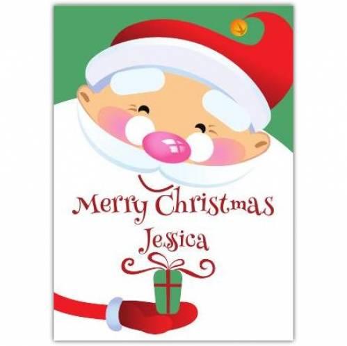 Merry Christmas Cartoon Gift Santa Card